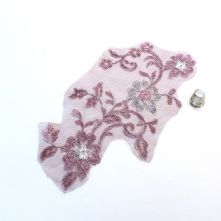 Large Plum and Silver Embroidered Tulle Lace Motif
